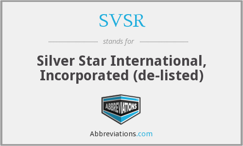 What does SVSR stand for?