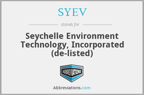 What does SYEV stand for?