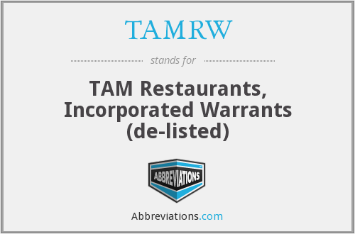 What does TAMRW stand for?