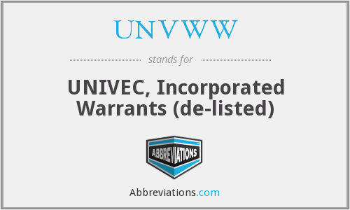 What does UNVWV stand for?