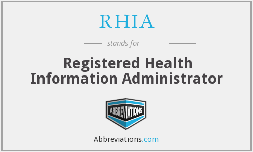 What does RHIA stand for?