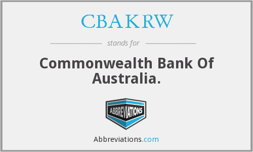 What does CBAKRW stand for?