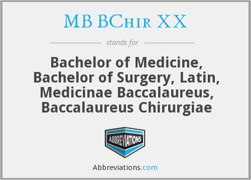 What does MB BCHIR XX stand for?