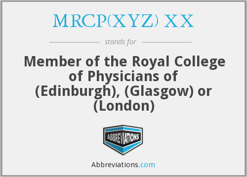 What does MRCP(XYZ) XX stand for?
