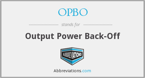 What does OPBO stand for?