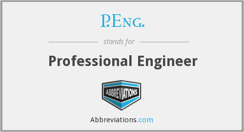 What does P.ENG. stand for?