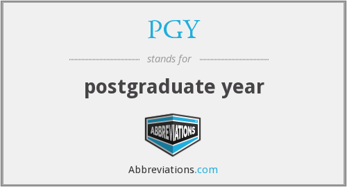 What does PGY stand for?