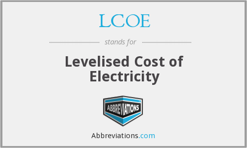 What does LCOE stand for?