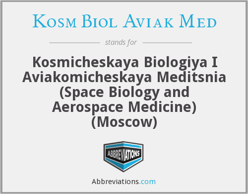 What does KOSM BIOL AVIAK MED stand for?