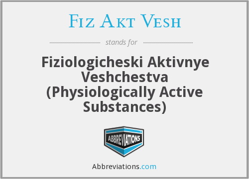 What does FIZ AKT VESH stand for?