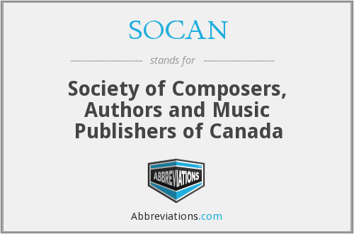 What does SOCAN stand for?