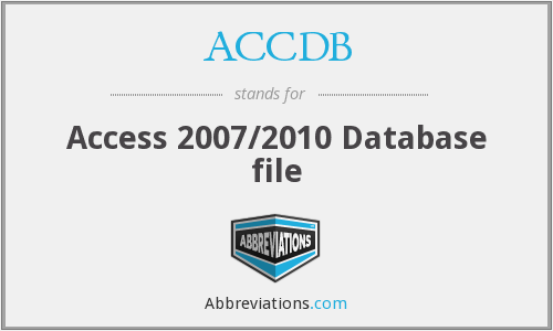 What does ACCDB stand for?