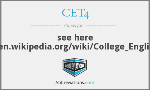 What does CET4 stand for?