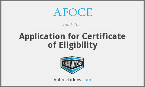 What does AFOCE stand for?