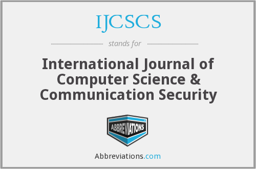 What does IJCSCS stand for?