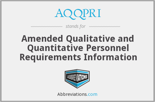 What does AQQPRI stand for?