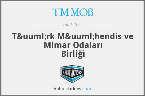 What does TMMOB stand for?
