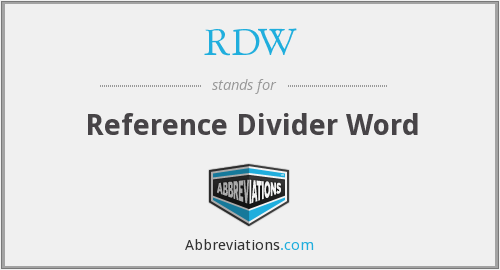 What does RDW stand for?