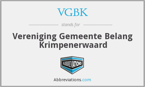 What does VGBK stand for?