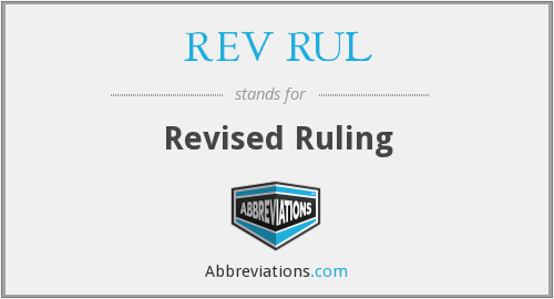 What does REV RUL stand for?