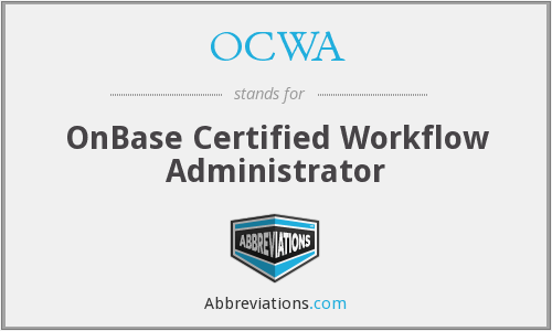 What does OCWA stand for?