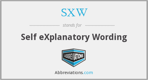 What does SXW stand for?