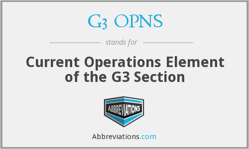 What does G3 OPNS stand for?