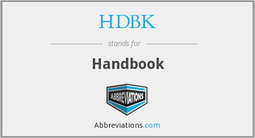 What does HDBK stand for?