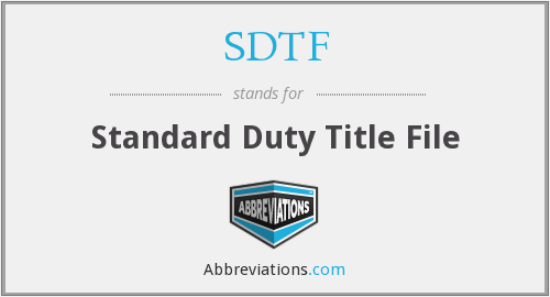 What does SDTF stand for?