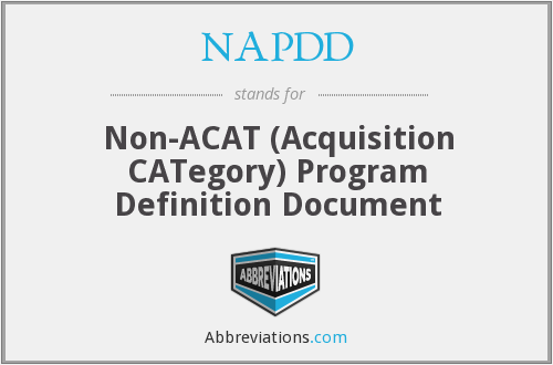 What does NAPDD stand for?