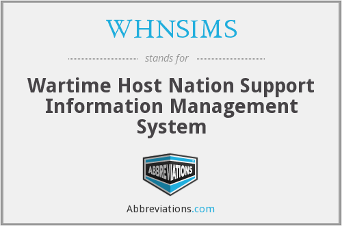 What does WHNSIMS stand for?