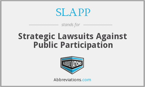 What does SLAPP stand for?