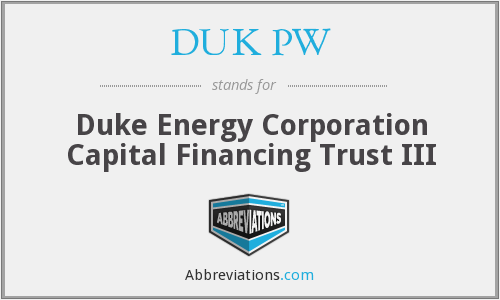 What does DUK PW stand for?