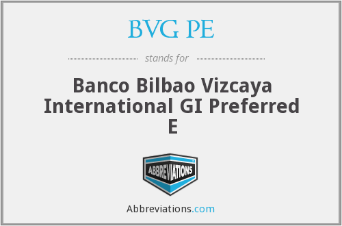 What does BVG PE stand for?