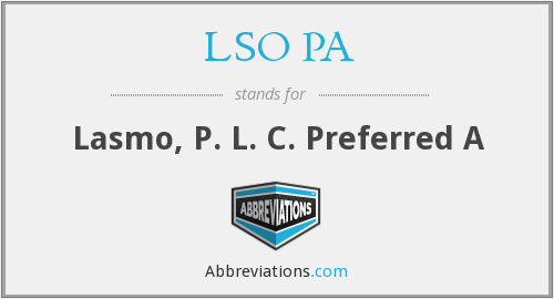 What does LSO PA stand for?