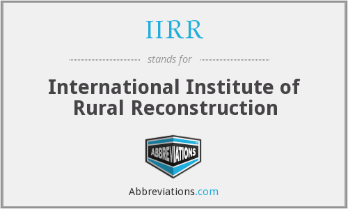 What does IIRR stand for?