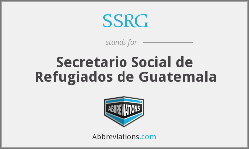 What does SSRG stand for?