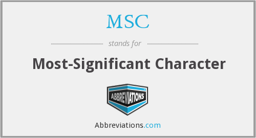 What does MSC stand for?