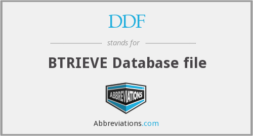 What does DDF stand for?