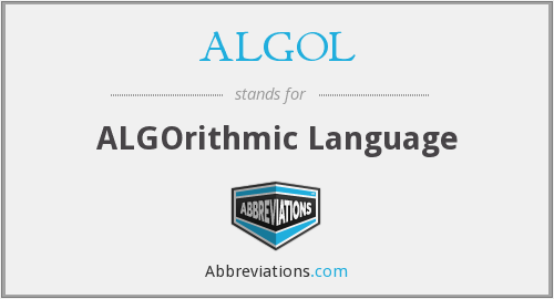 What does ALGOL stand for?