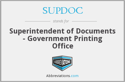 What does SUPDOC stand for?