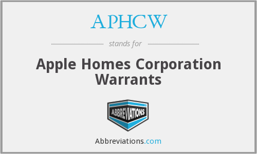 What does APHCW stand for?