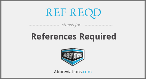 What does REF REQD stand for?
