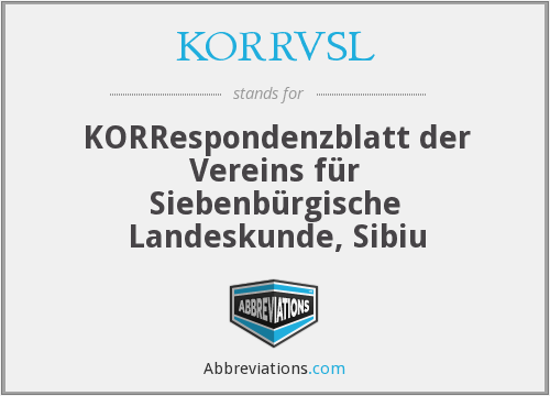What does KORRBLVSL stand for?