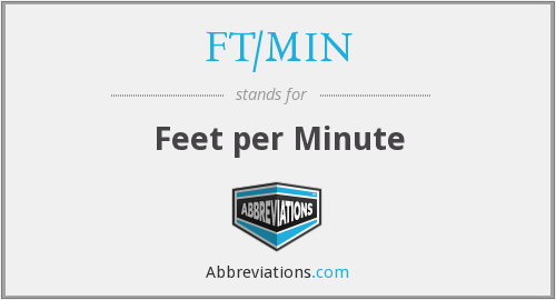 What does FT/MIN stand for?