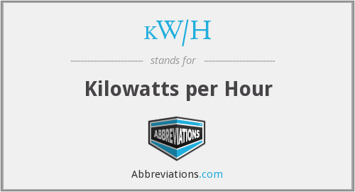 What does KW/H stand for?