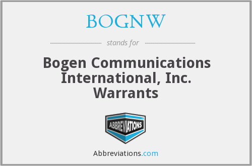 What does BOGNW stand for?