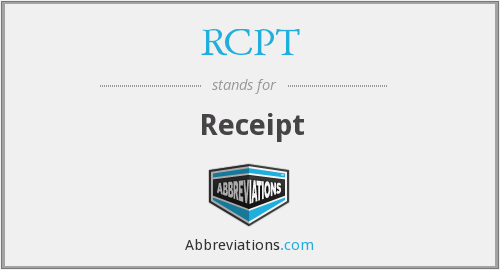 What is the abbreviation for receipt?