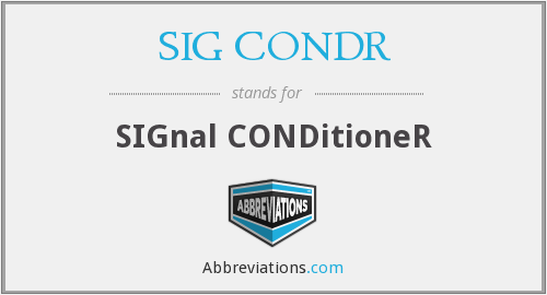 What does SIG CONDR stand for?
