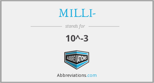 What does MILLI- stand for?